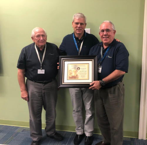 Rene Blanco-Lopez (right) receiving Wright Brothers Master Pilot Award with previous award recipients, Gerry Gardner (left) and John Oys (center).